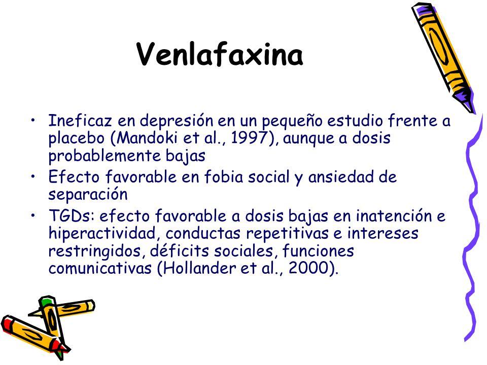 Venlafaxina Ineficaz en depresión en un pequeño estudio frente a placebo (Mandoki et al., 1997), aunque a dosis probablemente bajas Efecto favorable e
