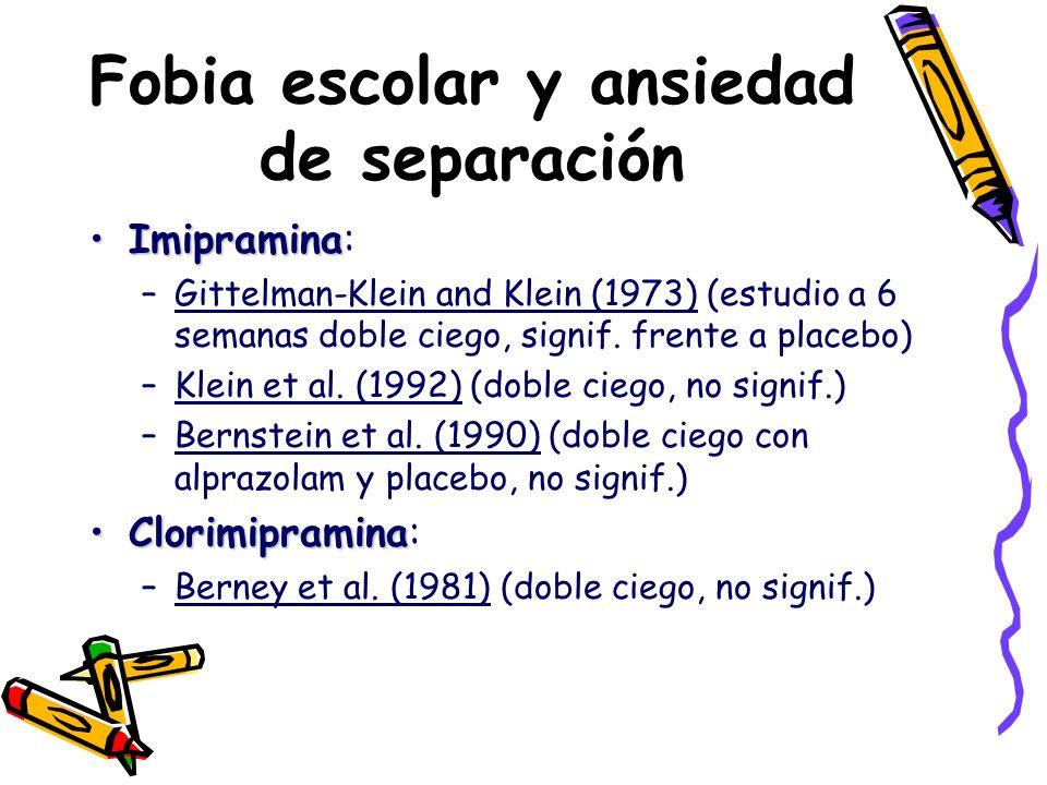 Fobia escolar y ansiedad de separación ImipraminaImipramina: –Gittelman-Klein and Klein (1973) (estudio a 6 semanas doble ciego, signif. frente a plac