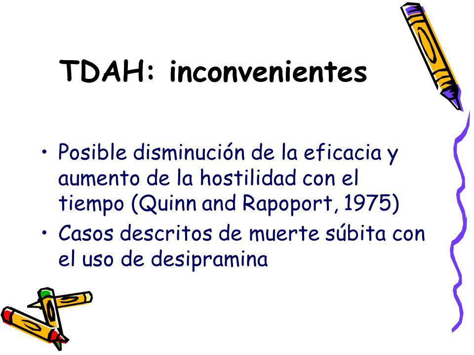 TDAH: inconvenientes Posible disminución de la eficacia y aumento de la hostilidad con el tiempo (Quinn and Rapoport, 1975) Casos descritos de muerte