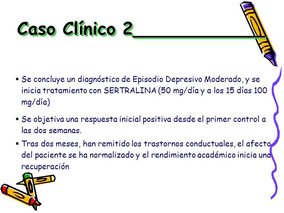 Se concluye un diagnóstico de Episodio Depresivo Moderado, y se inicia tratamiento con SERTRALINA (50 mg/día y a los 15 días 100 mg/día) Se objetiva u