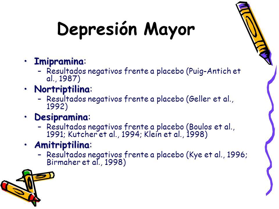 Depresión Mayor ImipraminaImipramina: –Resultados negativos frente a placebo (Puig-Antich et al., 1987) NortriptilinaNortriptilina: –Resultados negati