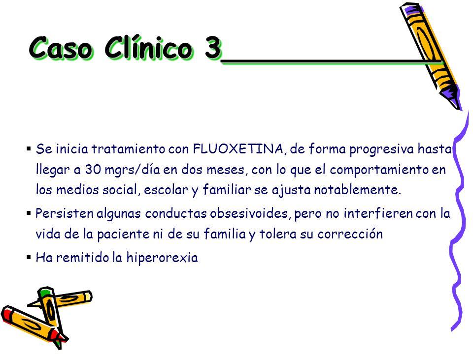 Se inicia tratamiento con FLUOXETINA, de forma progresiva hasta llegar a 30 mgrs/día en dos meses, con lo que el comportamiento en los medios social,