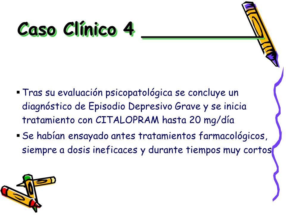 Tras su evaluación psicopatológica se concluye un diagnóstico de Episodio Depresivo Grave y se inicia tratamiento con CITALOPRAM hasta 20 mg/día Se ha