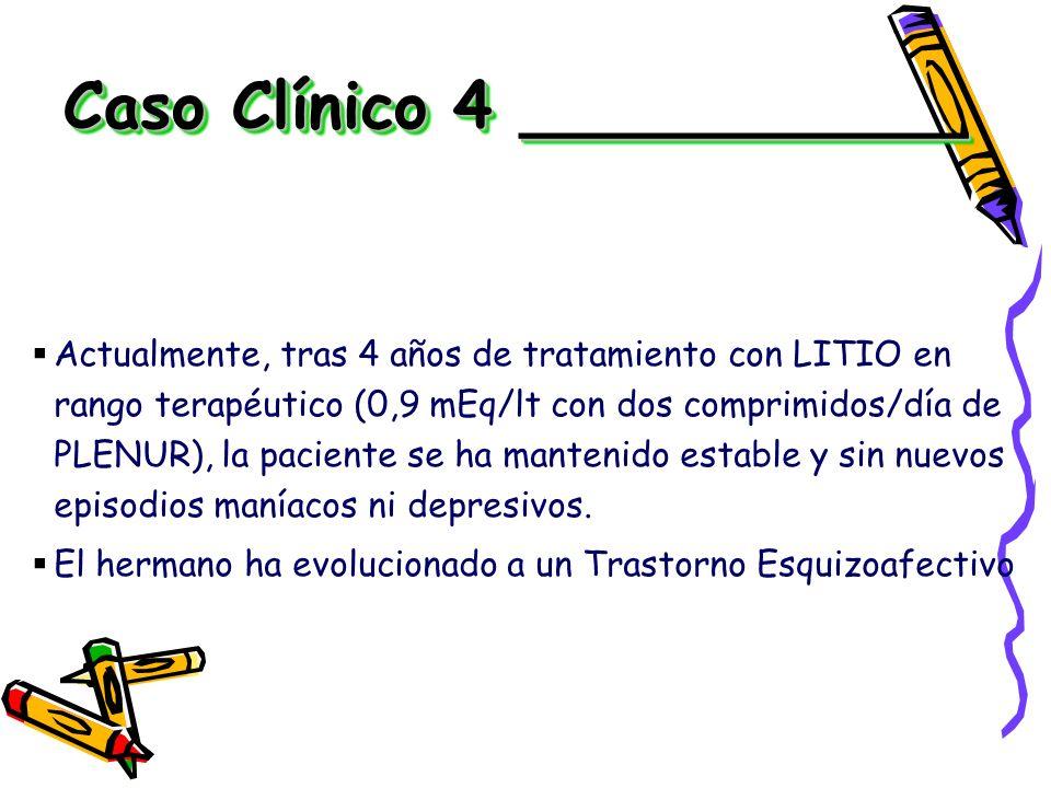 Actualmente, tras 4 años de tratamiento con LITIO en rango terapéutico (0,9 mEq/lt con dos comprimidos/día de PLENUR), la paciente se ha mantenido est