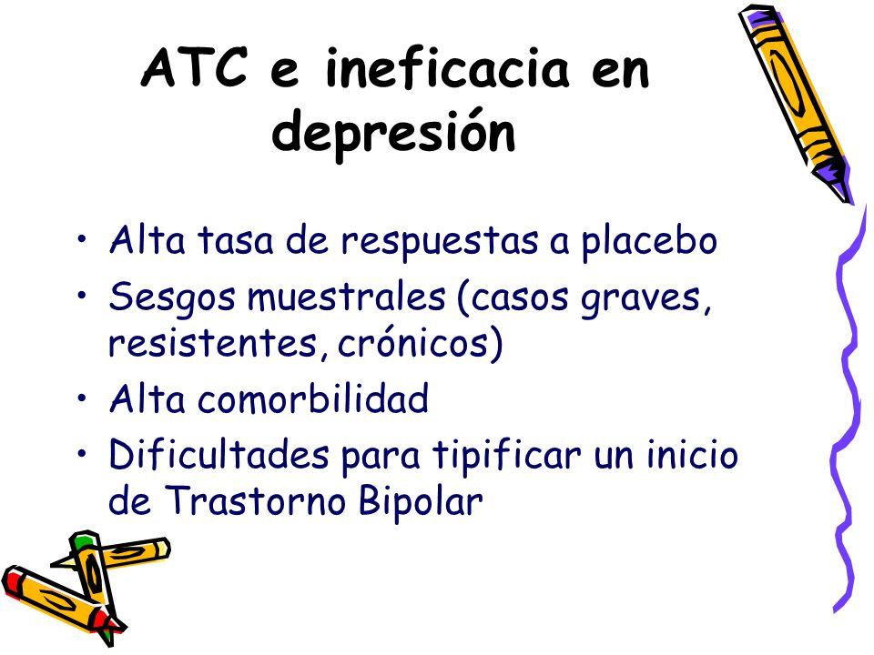 ATC e ineficacia en depresión Alta tasa de respuestas a placebo Sesgos muestrales (casos graves, resistentes, crónicos) Alta comorbilidad Dificultades