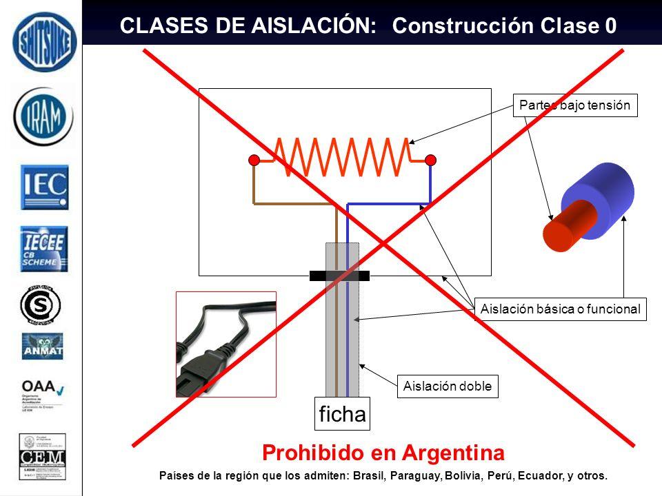 10 ficha Partes bajo tensión Aislación básica o funcional Prohibido en Argentina Países de la región que los admiten: Brasil, Paraguay, Bolivia, Perú,