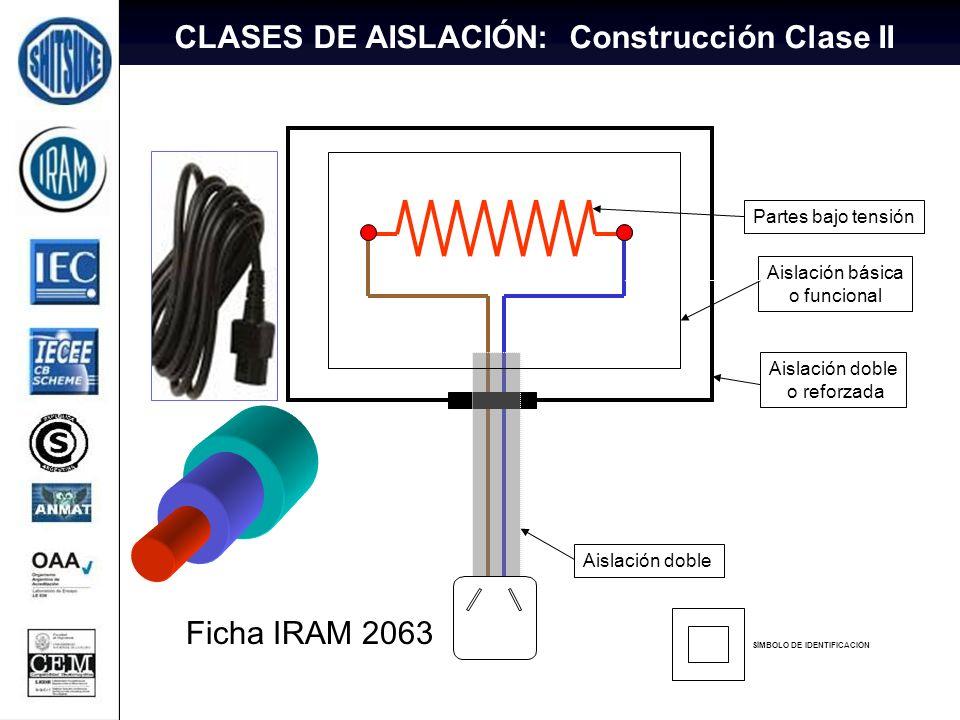 13 Partes bajo tensión Aislación básica o funcional Aislación doble Ficha IRAM 2063 Aislación doble o reforzada SÍMBOLO DE IDENTIFICACIÓN CLASES DE AI