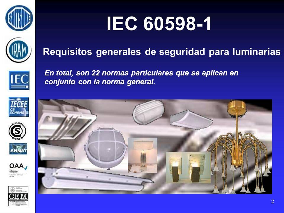 2 IEC 60598-1 Requisitos generales de seguridad para luminarias En total, son 22 normas particulares que se aplican en conjunto con la norma general.