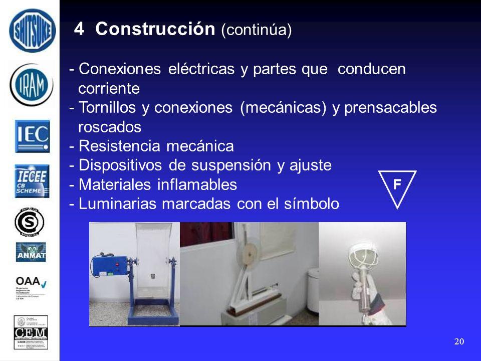 20 4 Construcción (continúa) - Conexiones eléctricas y partes que conducen corriente - Tornillos y conexiones (mecánicas) y prensacables roscados - Re