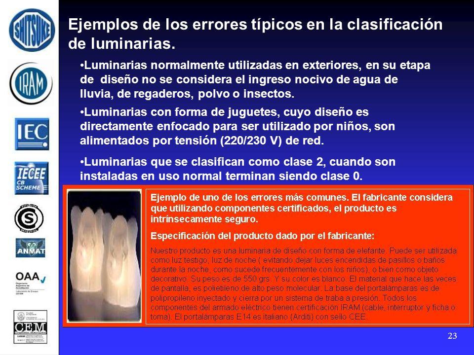 23 Ejemplos de los errores típicos en la clasificación de luminarias. Luminarias con forma de juguetes, cuyo diseño es directamente enfocado para ser