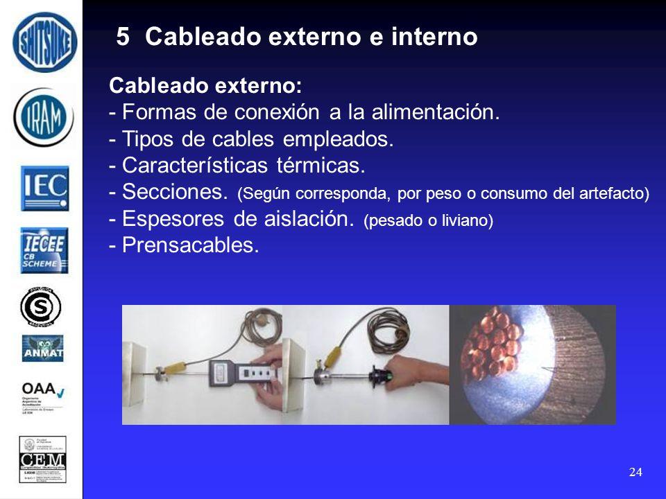 24 5 Cableado externo e interno Cableado externo: - Formas de conexión a la alimentación. - Tipos de cables empleados. - Características térmicas. - S