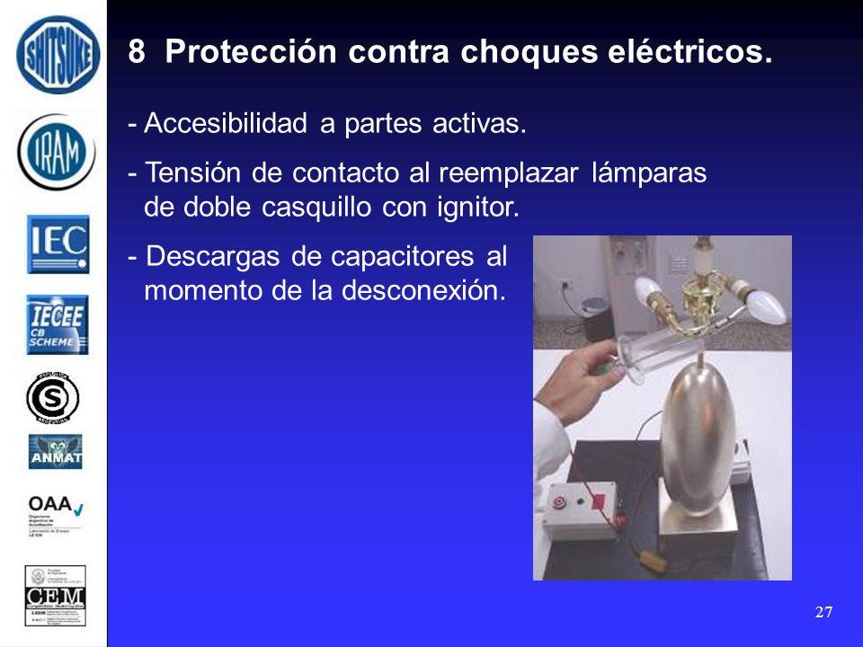 27 8 Protección contra choques eléctricos. - Accesibilidad a partes activas. - Tensión de contacto al reemplazar lámparas de doble casquillo con ignit