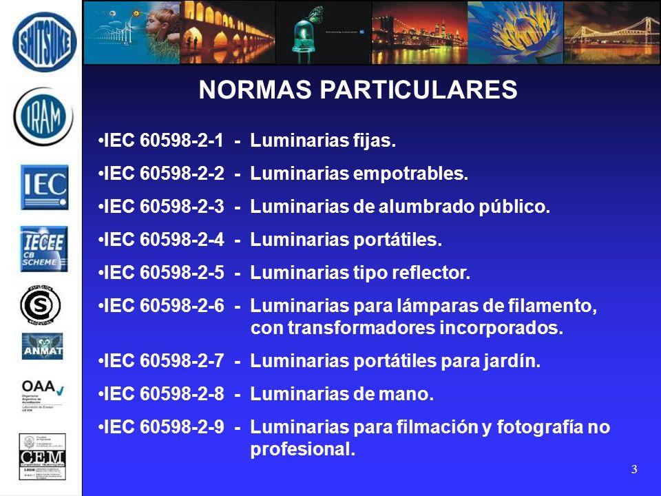 3 NORMAS PARTICULARES IEC 60598-2-1 - Luminarias fijas. IEC 60598-2-2 - Luminarias empotrables. IEC 60598-2-3 - Luminarias de alumbrado público. IEC 6