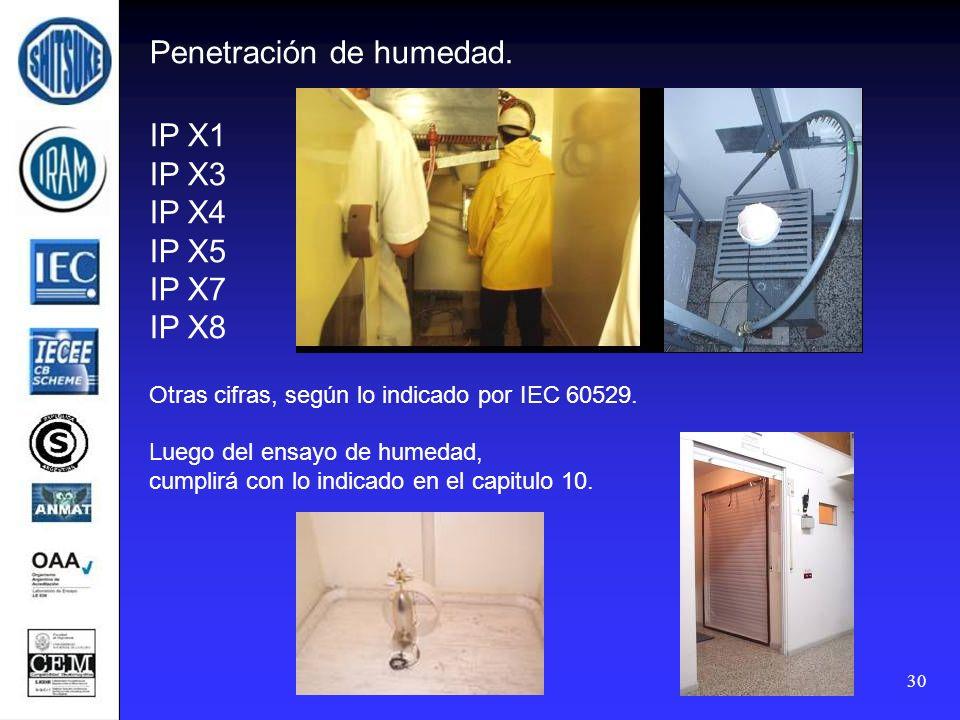 30 Penetración de humedad. IP X1 IP X3 IP X4 IP X5 IP X7 IP X8 Otras cifras, según lo indicado por IEC 60529. Luego del ensayo de humedad, cumplirá co