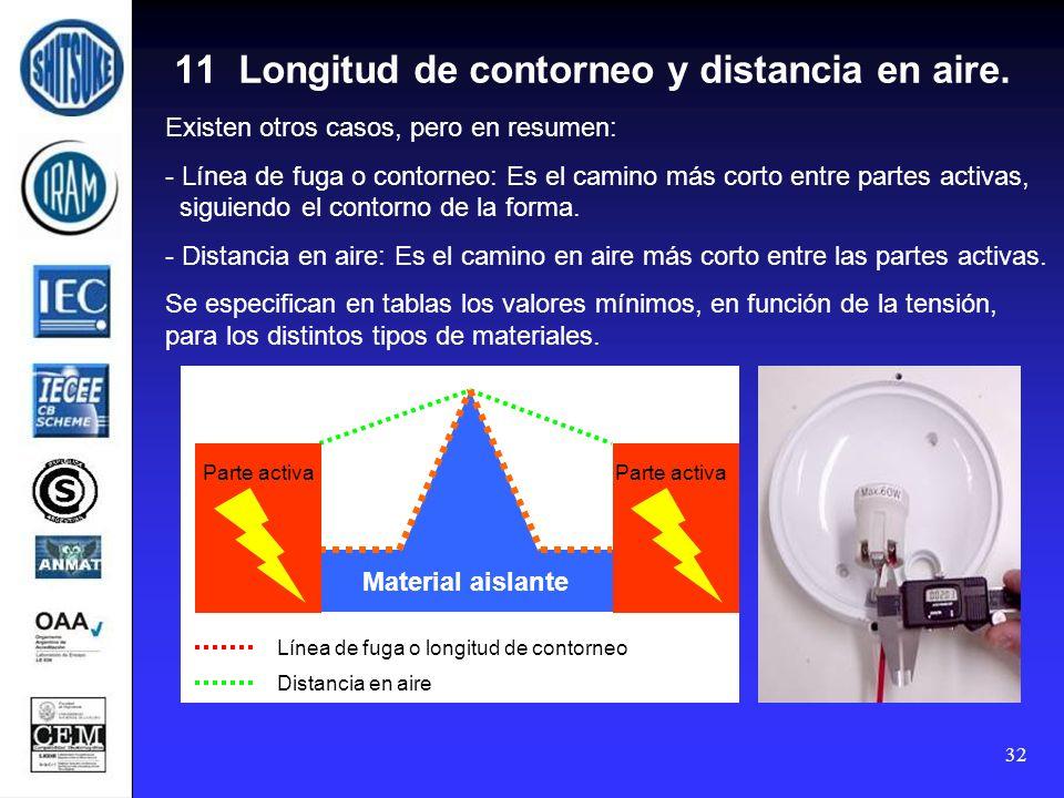 32 11 Longitud de contorneo y distancia en aire. Existen otros casos, pero en resumen: - Línea de fuga o contorneo: Es el camino más corto entre parte