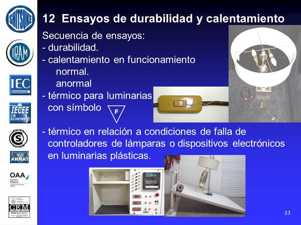 33 12 Ensayos de durabilidad y calentamiento Secuencia de ensayos: - durabilidad. - calentamiento en funcionamiento normal. anormal - térmico para lum