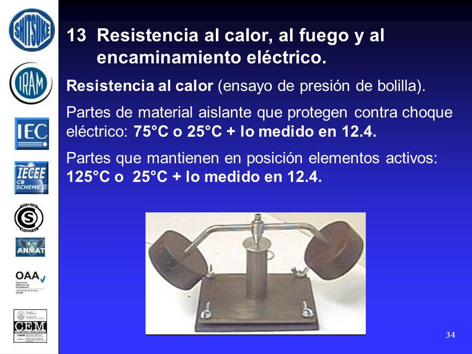 34 13 Resistencia al calor, al fuego y al encaminamiento eléctrico. Resistencia al calor (ensayo de presión de bolilla). Partes de material aislante q
