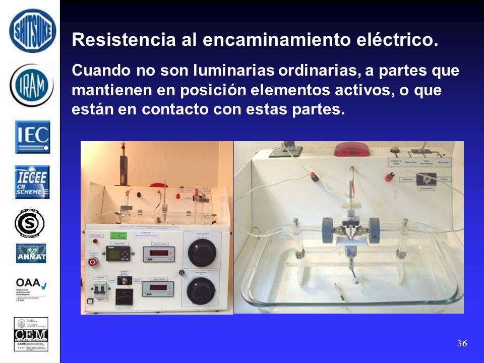 36 Resistencia al encaminamiento eléctrico. Cuando no son luminarias ordinarias, a partes que mantienen en posición elementos activos, o que están en