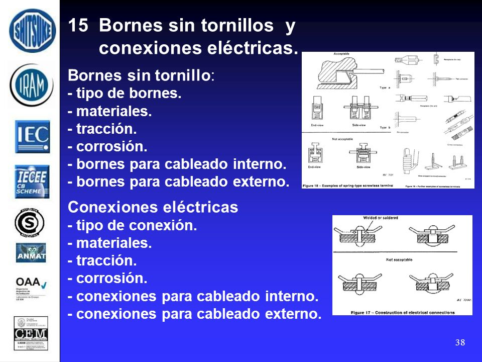38 15 Bornes sin tornillos y conexiones eléctricas. Bornes sin tornillo: - tipo de bornes. - materiales. - tracción. - corrosión. - bornes para cablea