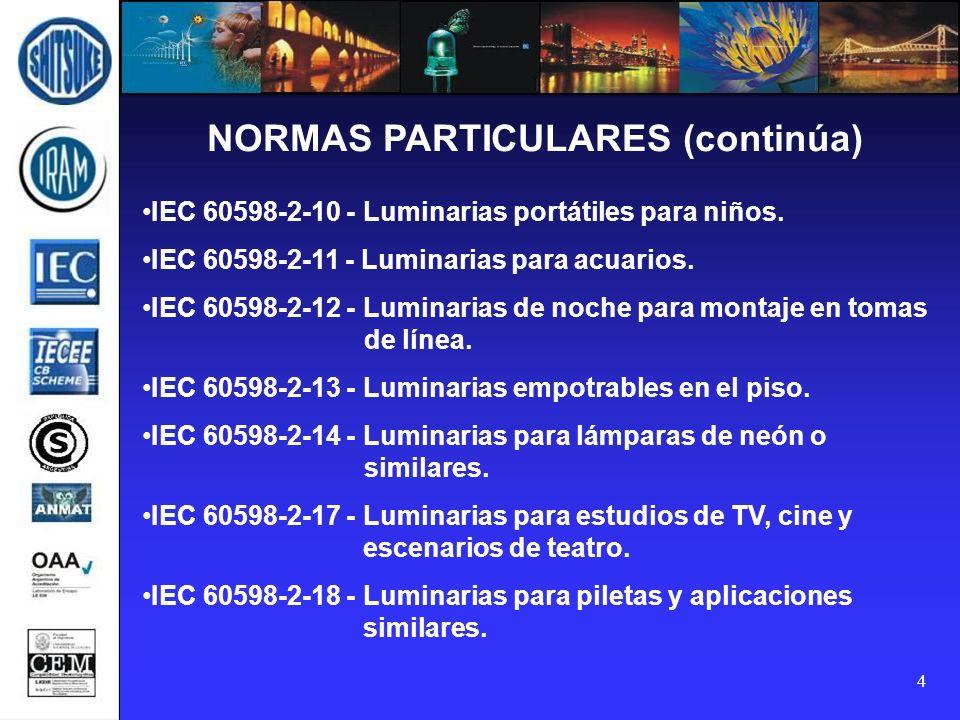 4 NORMAS PARTICULARES (continúa) IEC 60598-2-10 - Luminarias portátiles para niños. IEC 60598-2-11 - Luminarias para acuarios. IEC 60598-2-12 - Lumina