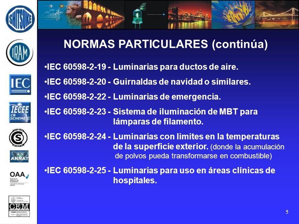 5 NORMAS PARTICULARES (continúa) IEC 60598-2-19 - Luminarias para ductos de aire. IEC 60598-2-20 - Guirnaldas de navidad o similares. IEC 60598-2-22 -