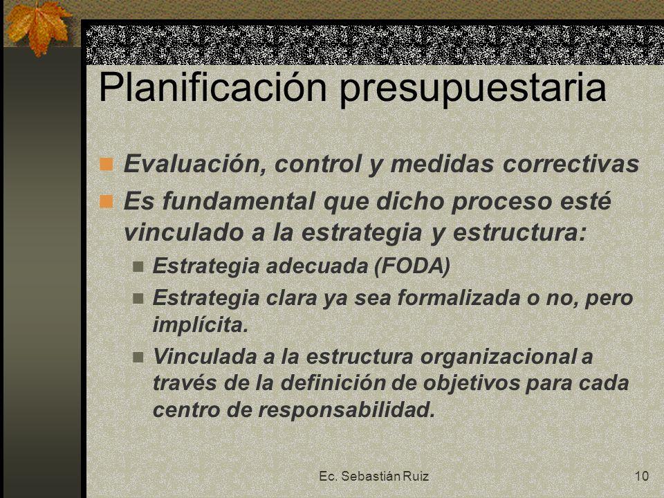 Ec. Sebastián Ruiz10 Planificación presupuestaria Evaluación, control y medidas correctivas Es fundamental que dicho proceso esté vinculado a la estra