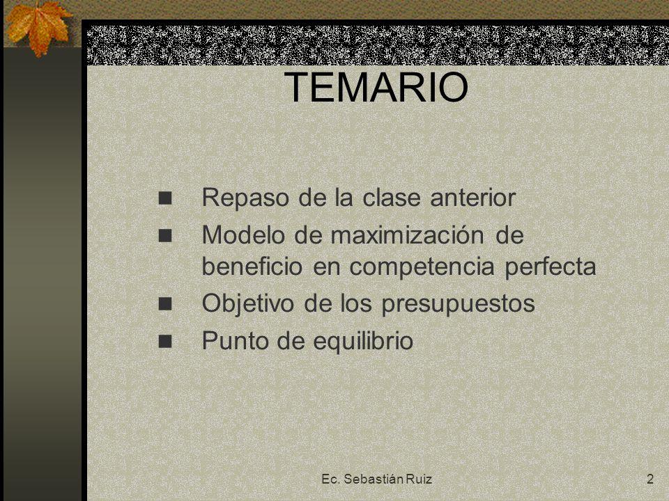 Ec. Sebastián Ruiz2 TEMARIO Repaso de la clase anterior Modelo de maximización de beneficio en competencia perfecta Objetivo de los presupuestos Punto