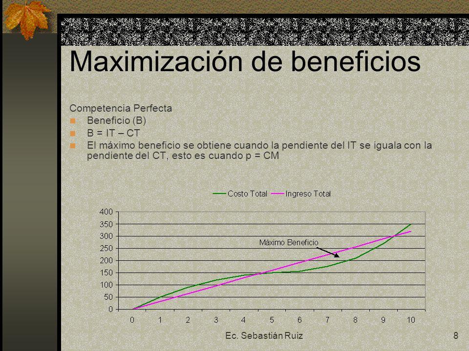 Ec. Sebastián Ruiz8 Maximización de beneficios Competencia Perfecta Beneficio (B) B = IT – CT El máximo beneficio se obtiene cuando la pendiente del I