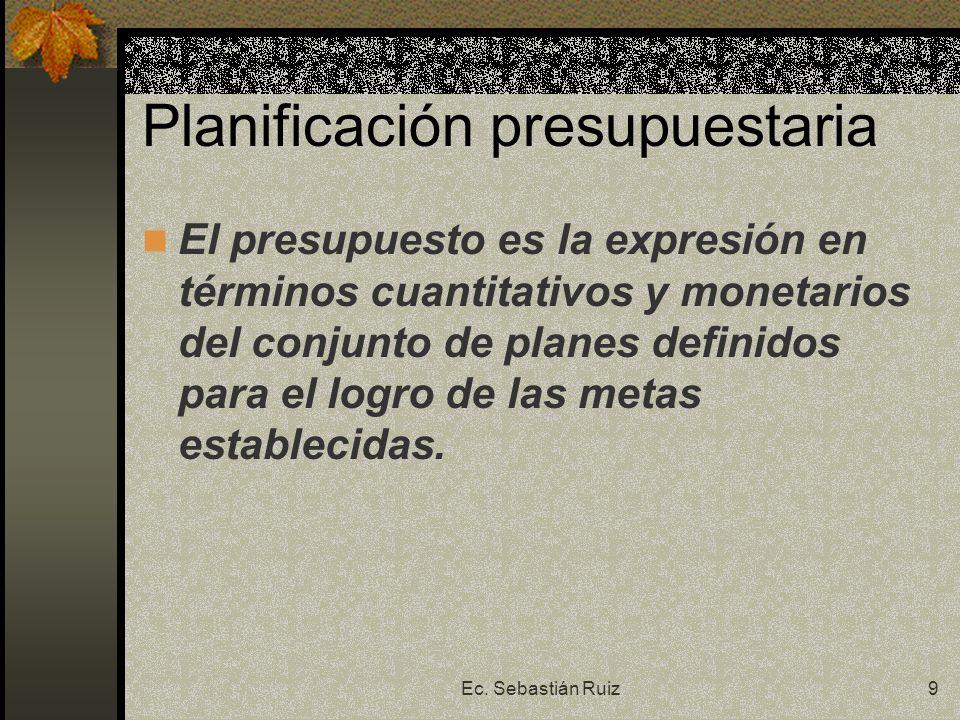 Ec. Sebastián Ruiz9 Planificación presupuestaria El presupuesto es la expresión en términos cuantitativos y monetarios del conjunto de planes definido