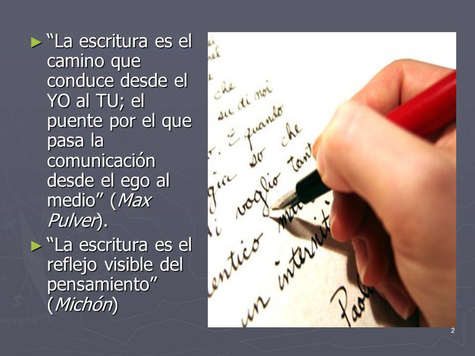 2 La escritura es el camino que conduce desde el YO al TU; el puente por el que pasa la comunicación desde el ego al medio (Max Pulver).