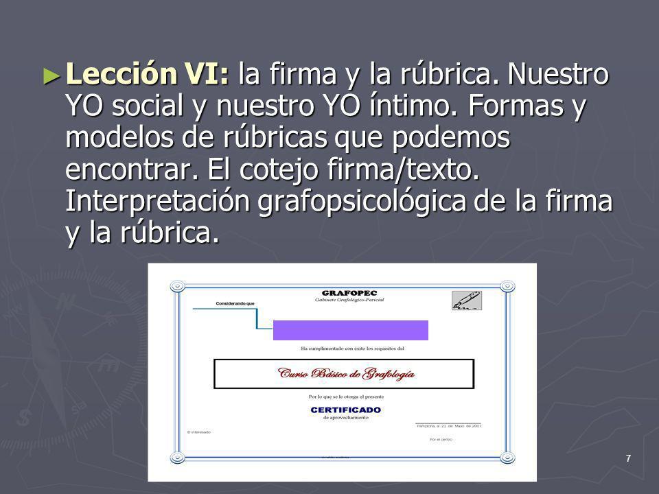 7 Lección VI: la firma y la rúbrica.Nuestro YO social y nuestro YO íntimo.