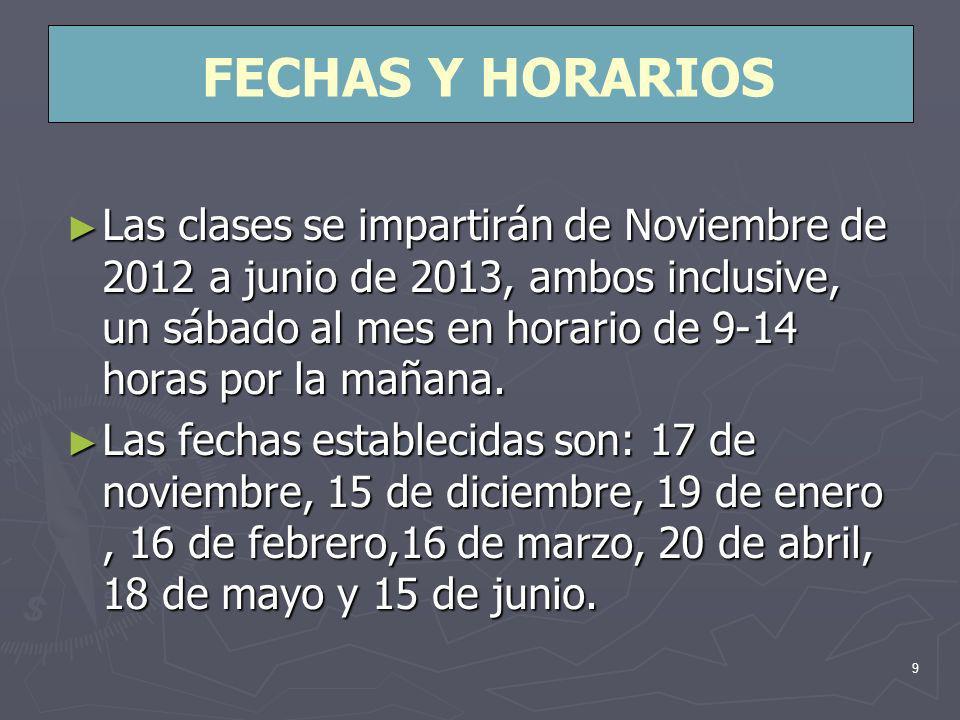 9 Las clases se impartirán de Noviembre de 2012 a junio de 2013, ambos inclusive, un sábado al mes en horario de 9-14 horas por la mañana.
