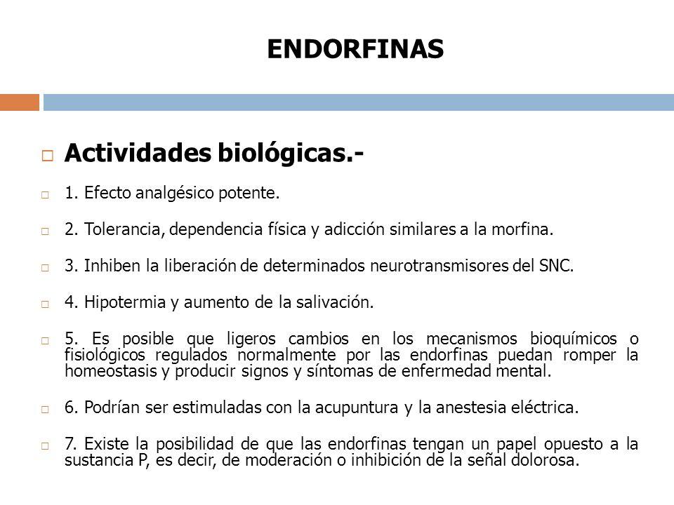 ENDORFINAS Actividades biológicas.- 1.Efecto analgésico potente.