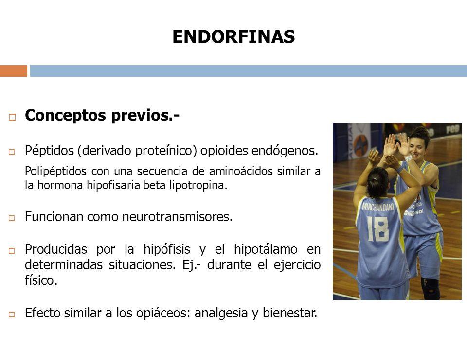 ENDORFINAS Conceptos previos.- Péptidos (derivado proteínico) opioides endógenos.