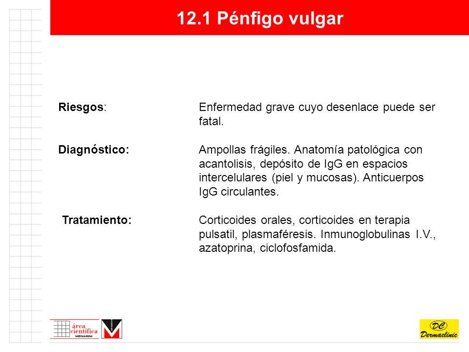 12.1 Pénfigo vulgar Riesgos:Enfermedad grave cuyo desenlace puede ser fatal.