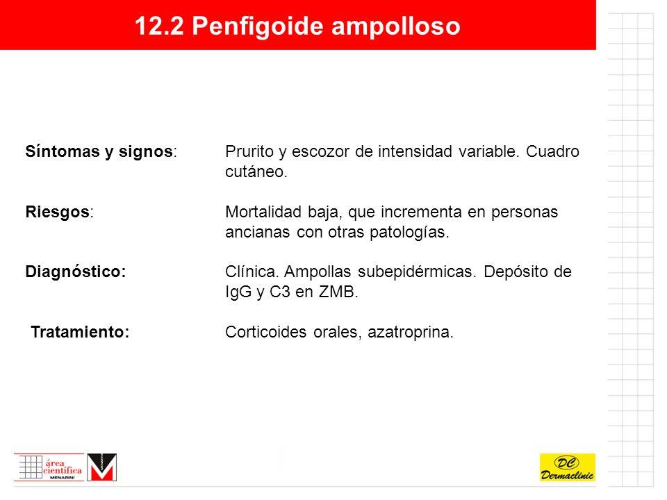 12.2 Penfigoide ampolloso Síntomas y signos:Prurito y escozor de intensidad variable.