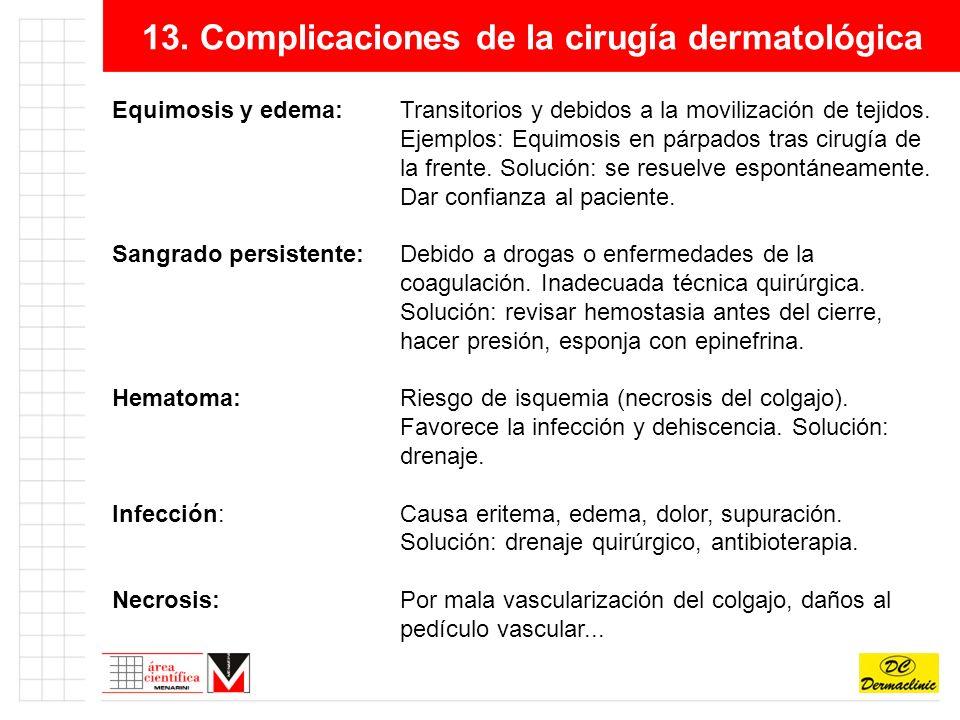 13. Complicaciones de la cirugía dermatológica Equimosis y edema:Transitorios y debidos a la movilización de tejidos. Ejemplos: Equimosis en párpados
