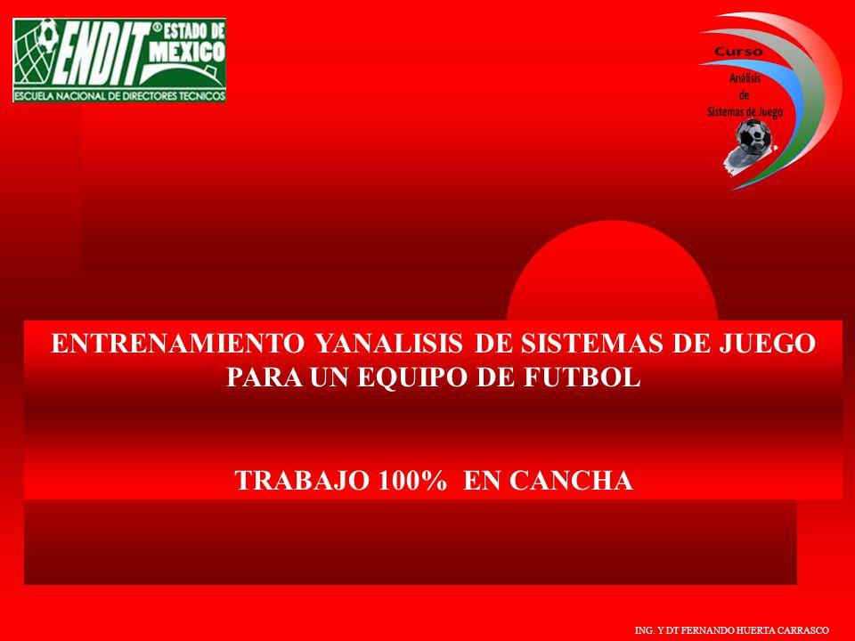 ING. Y DT FERNANDO HUERTA CARRASCO ENTRENAMIENTO YANALISIS DE SISTEMAS DE JUEGO PARA UN EQUIPO DE FUTBOL TRABAJO 100% EN CANCHA