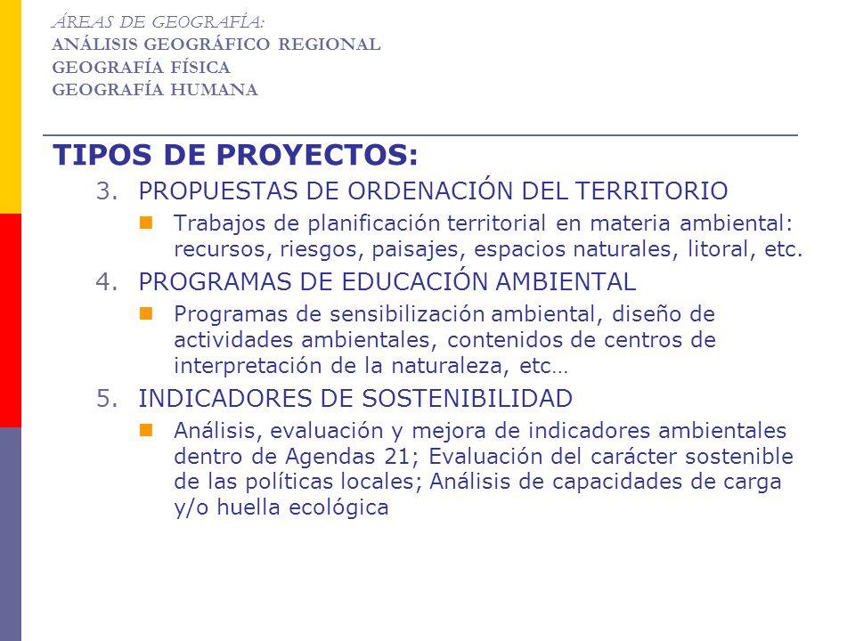 TIPOS DE PROYECTOS: 3.PROPUESTAS DE ORDENACIÓN DEL TERRITORIO Trabajos de planificación territorial en materia ambiental: recursos, riesgos, paisajes,