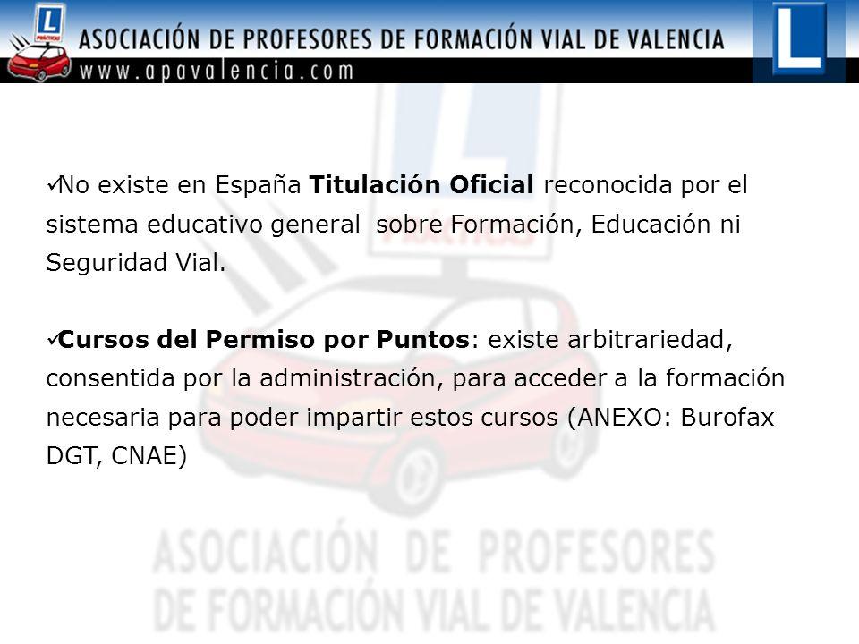 No existe en España Titulación Oficial reconocida por el sistema educativo general sobre Formación, Educación ni Seguridad Vial. Cursos del Permiso po