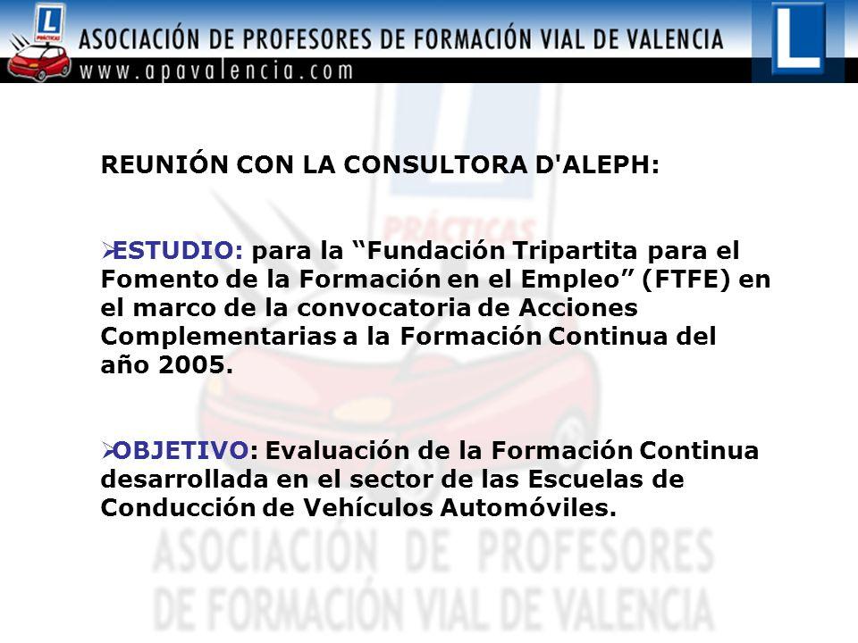 REUNIÓN CON LA CONSULTORA D'ALEPH: ESTUDIO: para la Fundación Tripartita para el Fomento de la Formación en el Empleo (FTFE) en el marco de la convoca