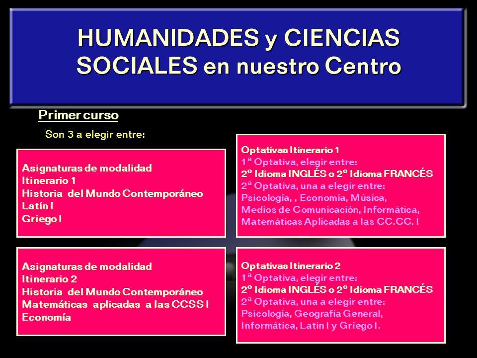 17 HUMANIDADES y CIENCIAS SOCIALES Latín II Griego II Historia del Arte Geografía Matemáticas aplicadas a las CC.SS. II Economía y Organización de Emp