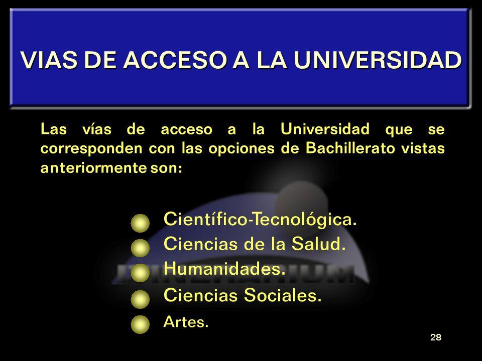 27 ACCESO A ESTUDIOS UNIVERSITARIOS La elección de una carrera universitaria dependerá de la modalidad de Bachillerato que se haya cursado. Existen ci