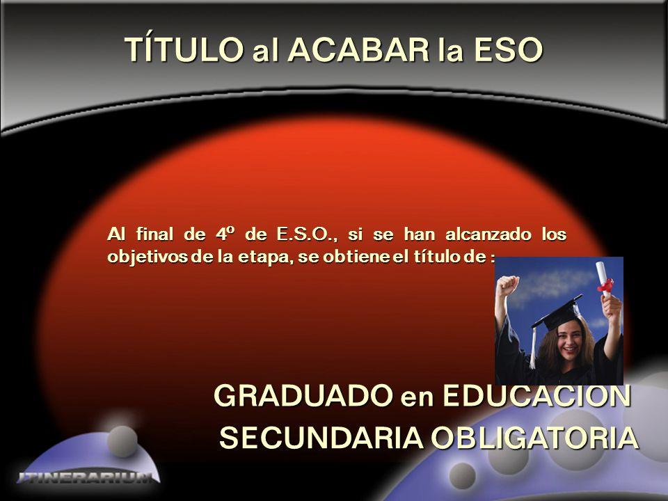 3 La TITULACIÓN al ACABAR la EDUCACIÓN SECUNDARIA OBLIGATORIA
