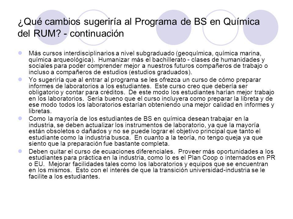 ¿Qué cambios sugeriría al Programa de BS en Química del RUM? - continuación Más cursos interdisciplinarios a nivel subgraduado (geoquímica, química ma