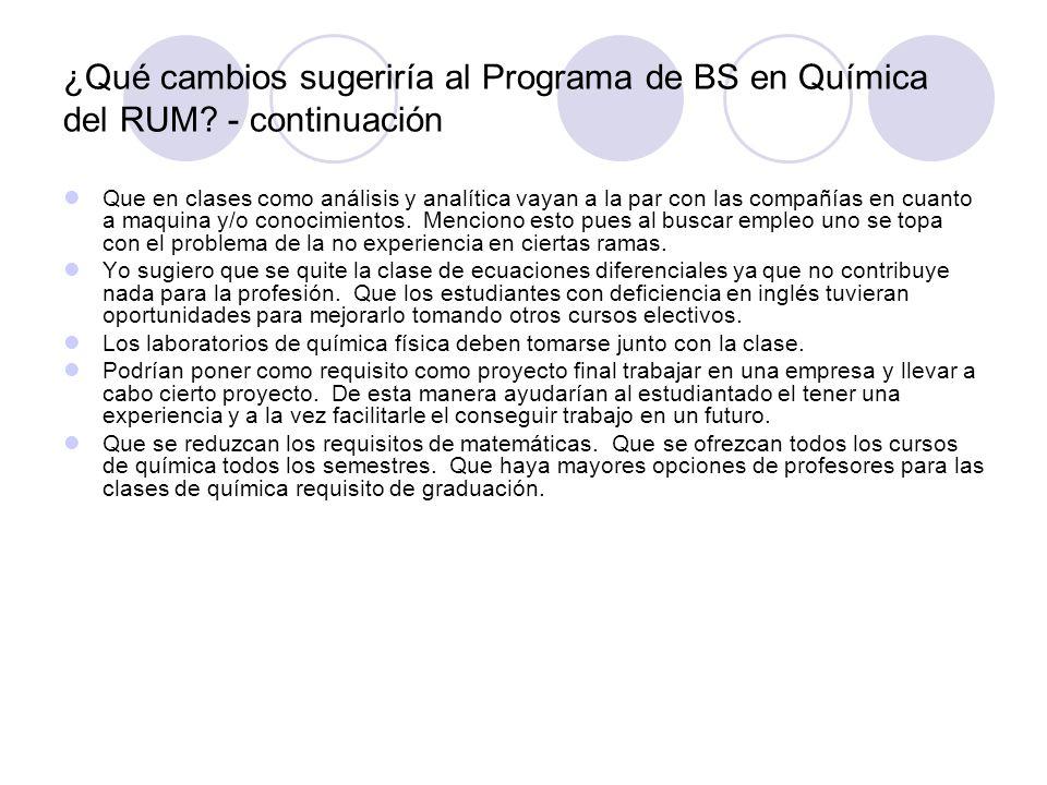 ¿Qué cambios sugeriría al Programa de BS en Química del RUM? - continuación Que en clases como análisis y analítica vayan a la par con las compañías e