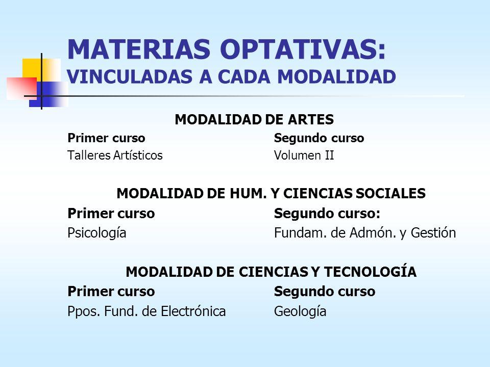 MATERIAS OPTATIVAS: VINCULADAS A CADA MODALIDAD MODALIDAD DE ARTES Primer cursoSegundo curso Talleres ArtísticosVolumen II MODALIDAD DE HUM.