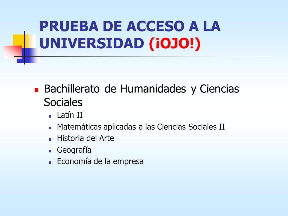 PRUEBA DE ACCESO A LA UNIVERSIDAD (¡OJO!) Bachillerato de Humanidades y Ciencias Sociales Latín II Matemáticas aplicadas a las Ciencias Sociales II Hi