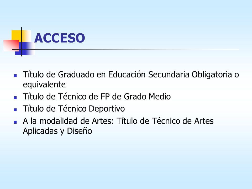 ACCESO Título de Graduado en Educación Secundaria Obligatoria o equivalente Título de Técnico de FP de Grado Medio Título de Técnico Deportivo A la modalidad de Artes: Título de Técnico de Artes Aplicadas y Diseño
