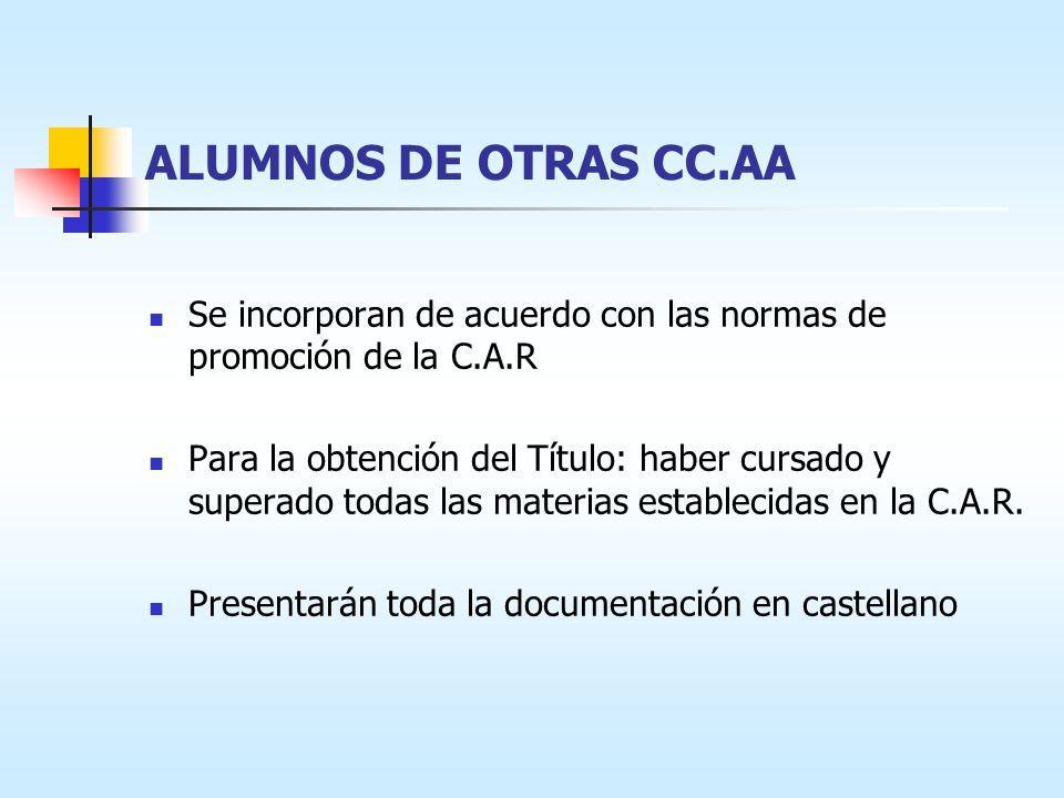 ALUMNOS DE OTRAS CC.AA Se incorporan de acuerdo con las normas de promoción de la C.A.R Para la obtención del Título: haber cursado y superado todas las materias establecidas en la C.A.R.